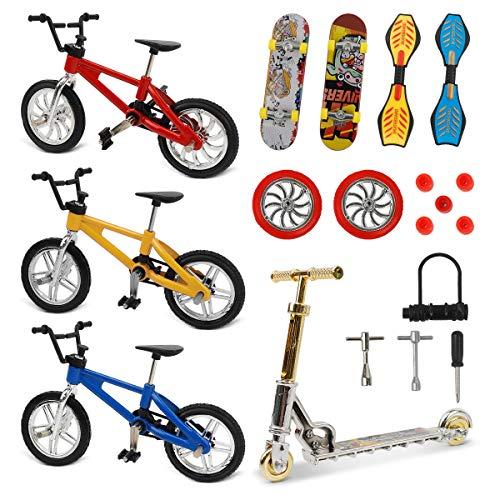 CS COSDDI 18 Stücke Mini Fingerspielzeug Set, Fingerskateboard Finger Fahrrad Roller Winziges Schaukelbrett Fingerspitzen Bewegung Party Bevorzugt Ersatz Räder und Werkzeuge