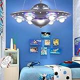 Plafonnier De Chambre À Coucher Pour Enfants Suspension De Chambre De Filles Pour Garçons Lustre De Soucoupe Volante UFO Extraterrestre Créatif Lampe Décorative Pour Chambre De Dessin Animé,Argent