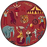 Alfombras con Estampado de Tigre Elefante y acróbata de Circo para niños, alfombras Redondas para Gatear para bebés, para Sala de Estar, tapete para Mesa de Centro-L