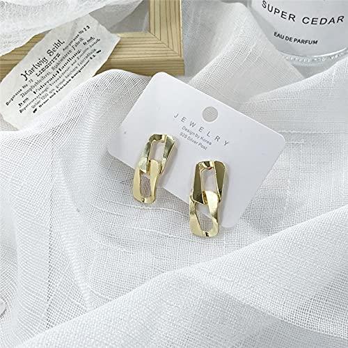 FEARRIN Pendientes para Mujer Stud Pendientes Elegantes de Oro para Mujer Textura Pendientes Redondos Cuadrados geométricos Tendencia Boucle Oreille Femme Jewelry 53197