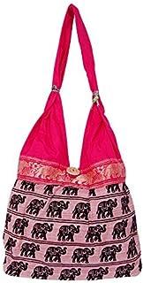 Ruchit Handicraft Traditional Women Ladies Hand Bags/Shoulder Bags/Jhola Bags/Sling Bags Set of 4 Pcs Combo (Pink)