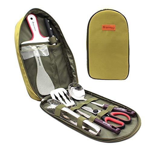 DoMyfit - Juego de organizador de utensilios de cocina portátil de 8 piezas para barbacoa, camping, utensilios de cocina, kit de viaje con funda resistente al agua