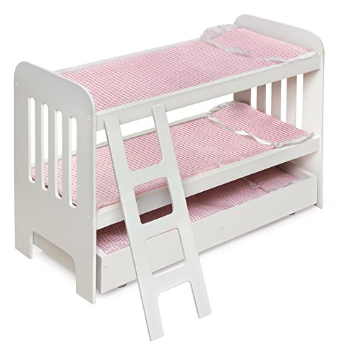 """Badger Basket Trundle Doll Bunk Bed with Bedding, Ladder, and Free Personalization Kit (fits American Girl Dolls), White/Pink (23.25"""""""" l x 11.75"""""""" w x 18"""""""" h) (01857)"""