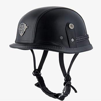 TKer Open Face Motorcycle Half Helmet Cruiser Chopper Biker Skull Cap Helmet Black