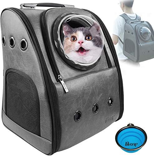 Petrip Hunderucksack Haustier Rucksäcke Rucksack Raumkapsel für 24 lbs große Katzen,Pet Tragbar Carrier Platz Kapsel,Wasserdicht Handtasche-Grau