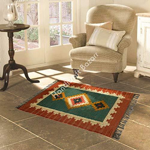Alfombra Kelim de yute marroquí de yute marroquí de yute para yoga, meditación, decoración oriental del hogar, juego de alfombras de yute clásico