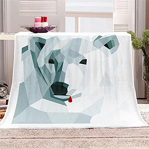 BLZQA Manta de Gran tamaño, cálida para Adultos, súper Suave con Franela Suave Antibolitas, para Adultos y niños, impresión 3D Oso Polar Blanco,130 x 150 cm
