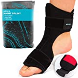 AZMED 2020 Plantar Fasciitis Night Splint [Lightweight & Breathable], Adjustable Foot Drop Brace, Heel, Ankle & Achilles Tendonitis Relief, Arch Pain Support, Easy to Wear, Fits Most Feet Types, Black