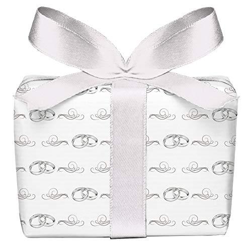 5er Set 5 Bögen Geschenkpapier zur Hochzeit grau weiß mit Ringe Ornamente, Verpackung, Hochzeitsgeschenk Glückwunsch, gedruckt auf PEFC zertifiziertem Papier, 50 x 70 cm
