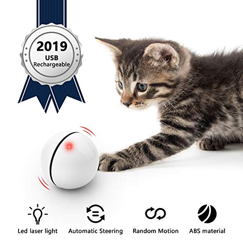 UNZANO Interactive Cat Toys for Indoor Cats with Built-in Laser Light, USB Rechargeable