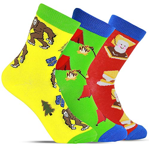 Boys Crazy & Fun Bigfoot Camping S'more Youth Novelty Crew Socks For Kids - Camping