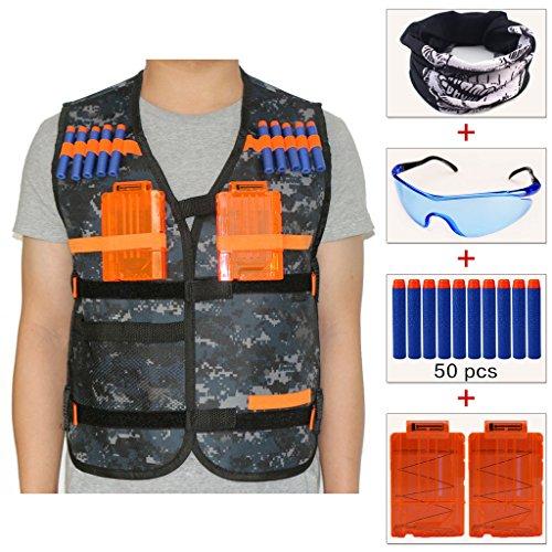 COSORO Kit de chaleco táctico de camuflaje para niños, para juegos al aire libre para la serie de pistolas de juguete Nerf N-Strike Elite