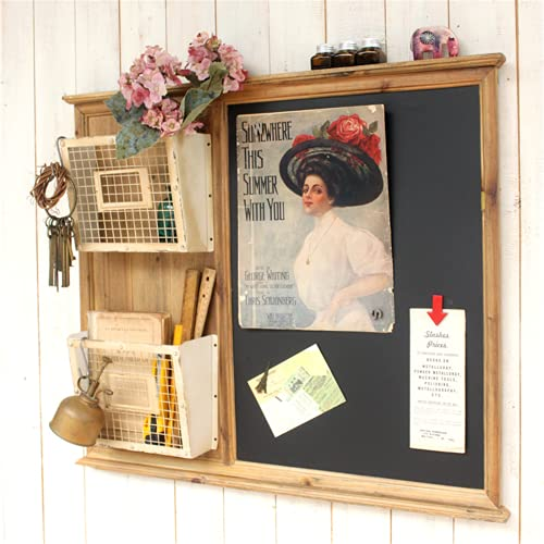 Tbaobei-Baby Pizarra de café, bar, decoración de pared, vintage, 2 animales, cesta de alambre, estilo revistero con pizarra magnética, para la cocina, color negro