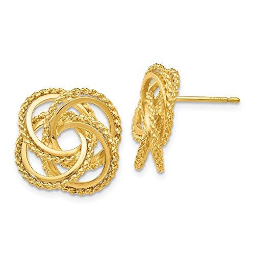 Black Bow Jewellery Company Ohrringe gedreht 18 mm poliert und Ohrringe Liebesknoten in 14 k Yellow Gold