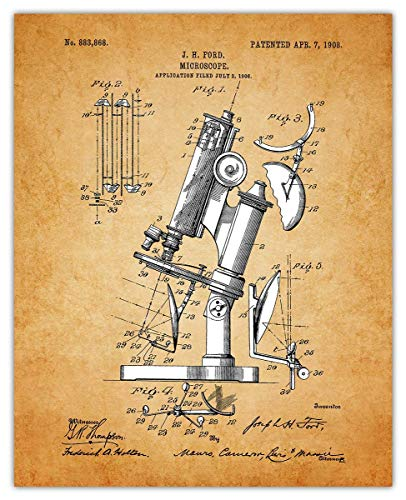 Vintage Microscope Poster Patent Prints - 8x10 Unframed Microscope Wall Decor for Home, Office, Man Cave, Dorm and Bedroom - Creative Gift Idea for Microscope Wall Art Enthusiasts