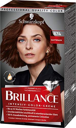 Brillance Intensiv-Color-Creme Haarfarbe 874 Samtbraun Stufe 3, 3er Pack(3 x 160 ml)