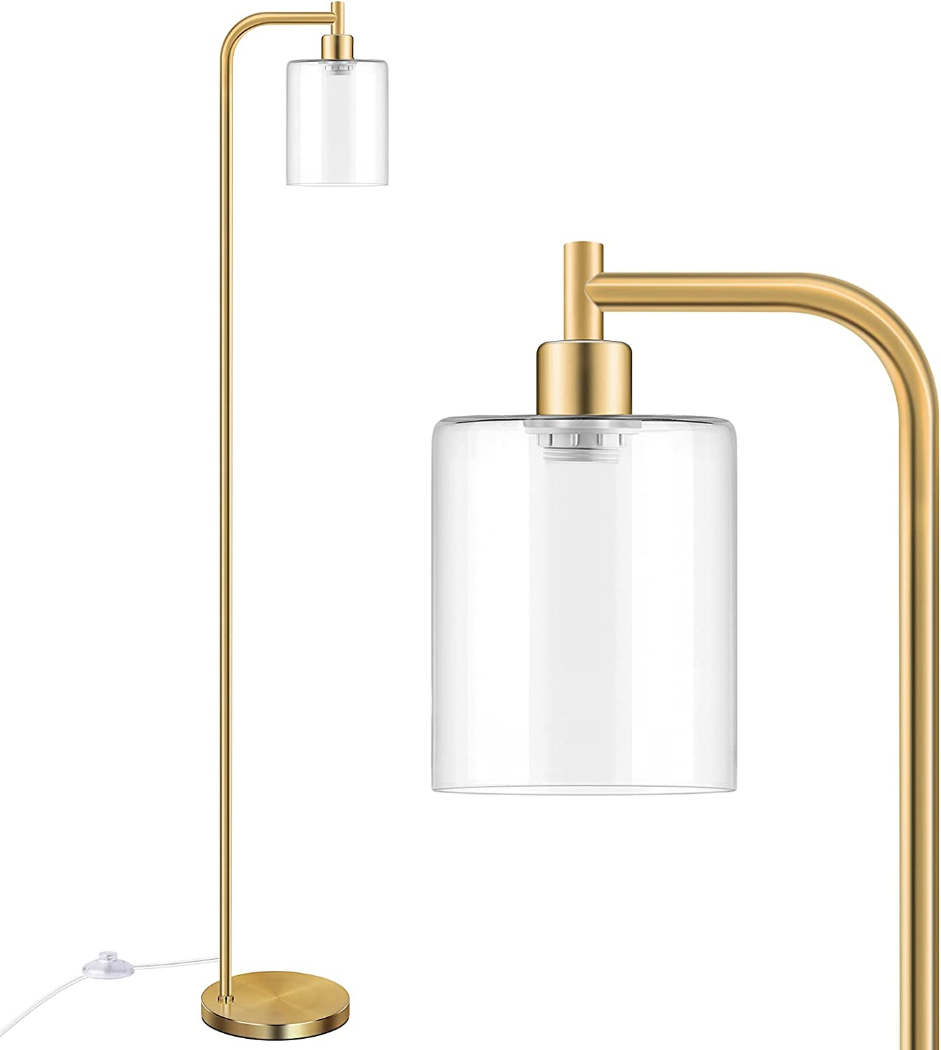 Industrial Floor Lamp with shop Genuine Hanging Glass Brass Shade Gold Farmho