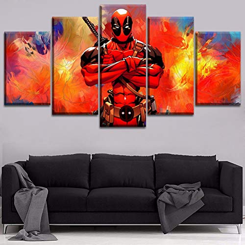 Leinwand gedruckt Gemälde Wandkunst dekorative Wohnzimmer modulare Bilder Framework 5 Stück Film Deadpool Charakter Poster 80/60/40X30CM gerahmt