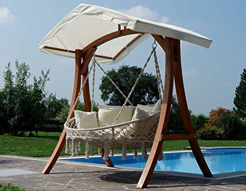 Hängesessel Hängelounger Doppellounger Lounge für 2 Personen Maui mit vielen Kissen klappbar inkl. Hollywoodschaukel - Gestell Aruba mit Dach von AS-S - 2