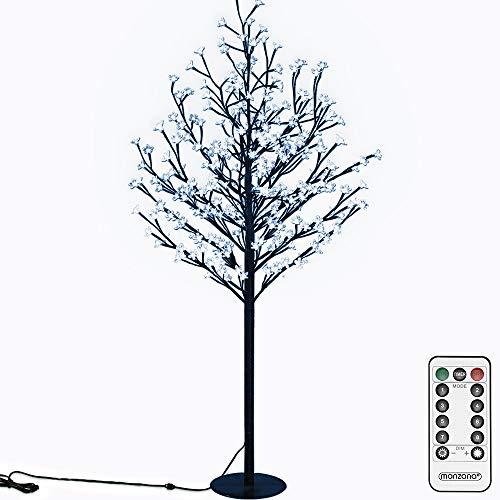 Deuba ciliegio Luminoso 220 cm Telecomando 220 LED Luce Blu Bianca Fredda Timer 8 impostazioni Interno Esterno Albero luci Artificiale