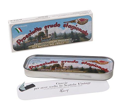 Handwerkliche Premium Rohschinken Prosciutto 150g hauchdünn frisch geschnitten in der Vintage Dose...