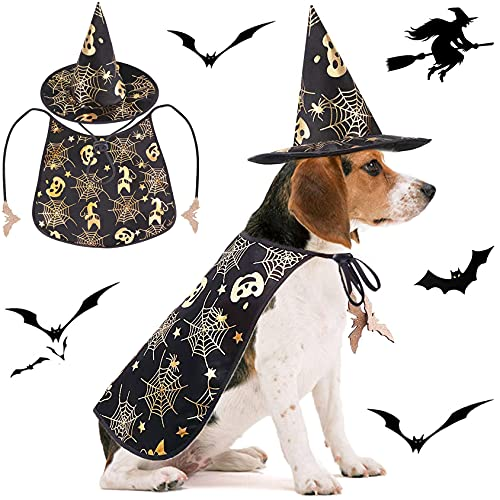 Qidelong 2 Pack Dog Halloween Costumes, Pet Vampire Cape and Witch Hat Cool Outfit, Party Cosplay...