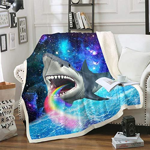 Loussiesd Manta de forro polar para sofá, cama, espacio exterior, galaxia, manta de felpa arco iris, océano, criatura, sherpa, manta marina para decoración de habitación, manta de doble 152 x 200 cm
