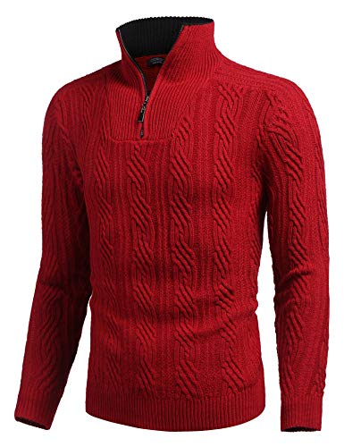 COOFANDY Men's Quarter Zip Sweater Slim Fit Casual Knitted Turtleneck Pullover Mock Neck Polo Sweater,Wine Red,X-Large