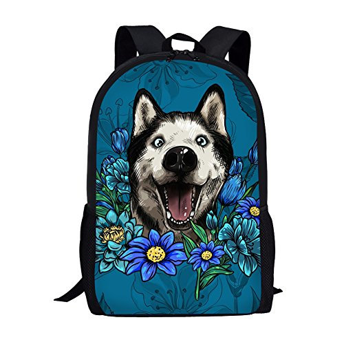 Coloranimal Illustrated Siberian Husky School Backpack for Children Laptop Packs