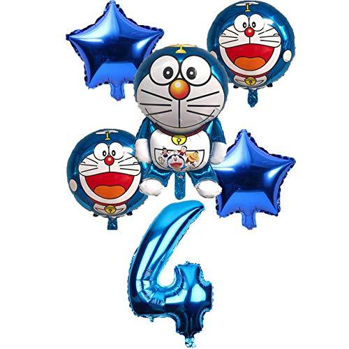 6 unid / Set Doraemon número 32 Pulgadas Globos aerostáticos Jingle Cat Helium Balloon Wedding Decor Happy Birthday Party Supplies Globo Azul 4