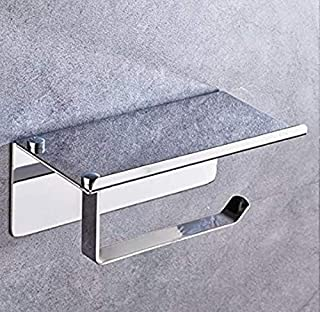 304 Stainless Steel Toilet Paper Roll Holder, Bathroom Tissue Wall Mount Storage Hook with Mobile Phone Storage Shelf, 3M ...