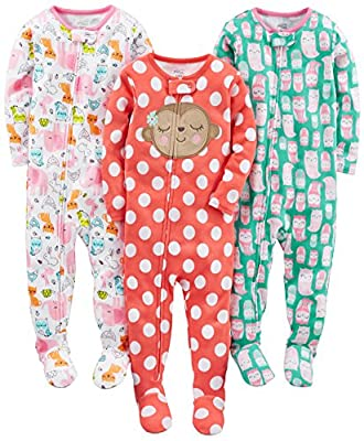 Simple Joys by Carter's Baby Girls 3-Pack Snug Fit Footed Cotton Pajamas, Owl/Monkey/Animals Green, 24 Months