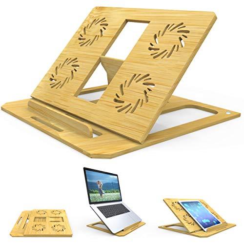 Th-some Soporte Portatil - Soporte de Computadora Ajustable, Soporte de Bambú para Portátil Laptop Stand para MacBook Air/Pro, HP, Samsung, Acer, Lenovo, iPad y Otras Computadoras 10-17 Pulgadas