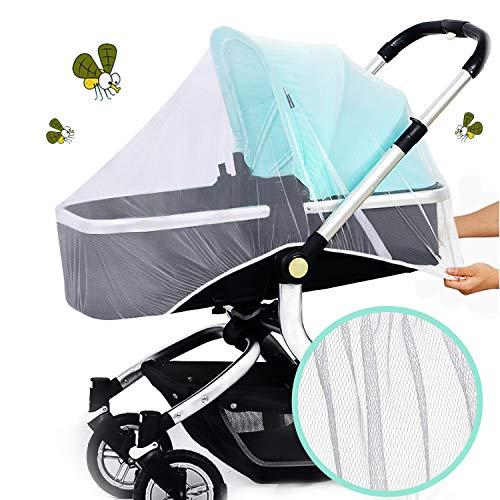 Oladwolf Moskitonetz Kinderwagen, Insektenschutz für Kinderwagen Schutz, Universal Kinderwagen Mückennetz mit Gummizug, Fliegennetz für Kinderwagen & Buggy & Reisebett, weiß