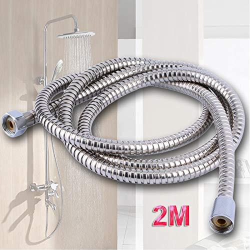 2.5 metre en acier inoxydable Chromé Flexible de salle de bain de bain Pomme de douche Tuyau d'arrosage Rondelles