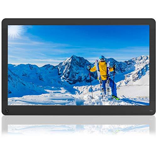 17 Zoll Digitaler Bilderrahmen Video Musik Player mit Kalender/Wecker, automatischer Drehung, Bildvorschau-Funktion, Elektronischer Fotorahmen mit Fernbedienung
