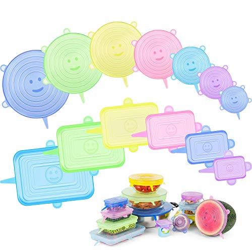 Maibahe Tapas de Silicona Reutilizables Ecológicas, 13pcs Tapas Silicona Ajustables Cocina, Colores Arcoiris, Tapas elásticas, sin BPA, Ideal para Varias Formas de Contenedores, Apto en Microondas