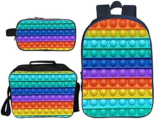 Pop it - Juego de mochila + bolsa para el almuerzo + estuche de doble capa para niños y niñas, impresión 3D, mochila escolar de 16 pulgadas, 04,