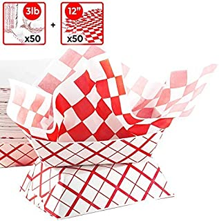 Heavy Duty, Grease Resistant 3 Lb Paper Food Tray and Deli Liner 50 Pack. 50-12 x 12 Sandwich Wraps and 50 Durable, Coated Paperboard Baskets. Ideal for Festivals, Carnivals and Concession Stands
