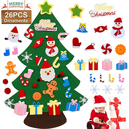 Anrapley 3.1ft DIY Felt Christmas Tree for Kids, Christmas Tree with 26pcs Detachable Xmas Ornaments Window Door Wall Hanging Decorations Holiday New Year Party Gifts for Toddlers