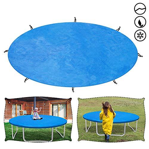 Froadp Wetterschutzplane Trampolin Abdeckung Reißfest UV-beständig Trampolinschutz Regenabdeckung für Gartentrampolin mit Durchmesser von Ø366cm(Blau)