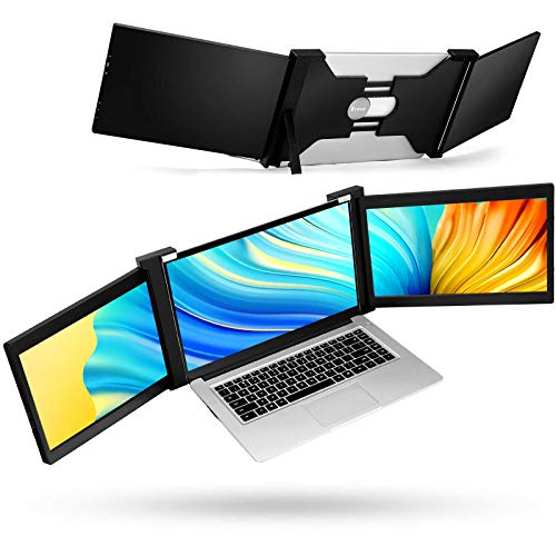 """Portable Triple Screen Laptop Workstation External Monitor for Laptop USB C Monitor Compatible with 14""""-17"""" Mac PC HD 1080P IPS Dual Display - 13.3 inch"""
