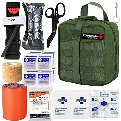 BUSIO Botiquín Primeros Auxilios,Kit Supervivencia Emergencia-Bolsa MOLLE Tactico,Torniquete,Tijera Enfermeria,Vendaje Israeli,Manta Termica,Splint …