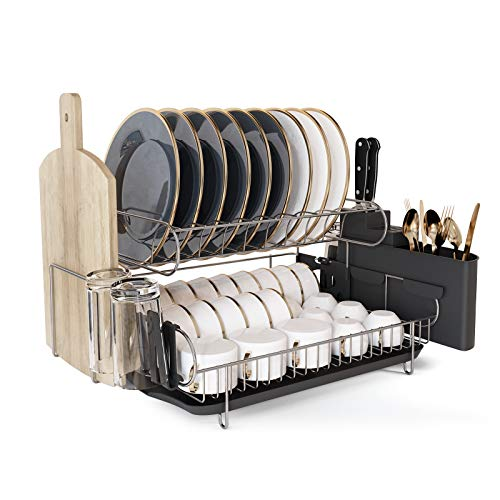 Dish Drying Rack JASIWAY Large Dish Rack and Drainboard Set 2 Tier 304 Stainless Steel with Drainboard for Kitchen Counter Dish Drainer with Utensil and Knife Holder Cutting Board Holder