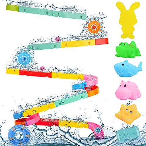 Victostar Badespielzeug für Babys, Autorennbahn Dusche Badewannenspielzeug mit schwimmendes Badespielzeug 43 Stück Spielzeug Für Kinder
