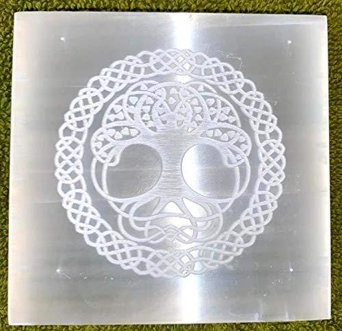 crystalmiracle Selenita 3'Árbol de la vida Grabado Cuadrado Grabado al agua fuerte Placa de Reiki Cristal Curativo Piedra preciosa Energía positiva Meditación Bienestar Hecho a mano