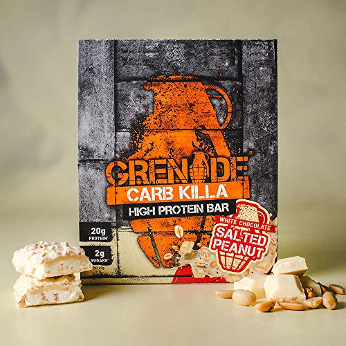 Grenade Carb Killa High Protein and Low Carb Bar, 12 X 60 g - White Chocolate Salted Peanut