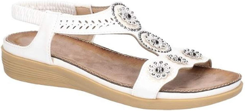 Fleet & Foster Womens Caper Elastic T-Bar Sandal White Size UK 8 EU 41