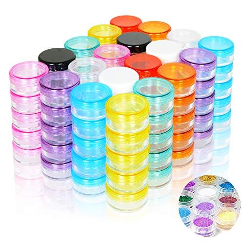 PUDSIRN 100 Botes de muestras de 5 g, recipientes vacíos Redondos con Tapa, recipientes de plástico para cremas, esmaltes de uñas, bálsamo Labial