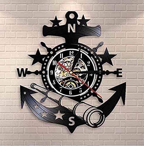 Reloj de pared de vinilo Reloj de pared de barco de vela navideño Diseño de yate Inicio Reloj de pared de Deere Reloj de pared de registro de barco retro Reloj de pared telescópico de escena costera